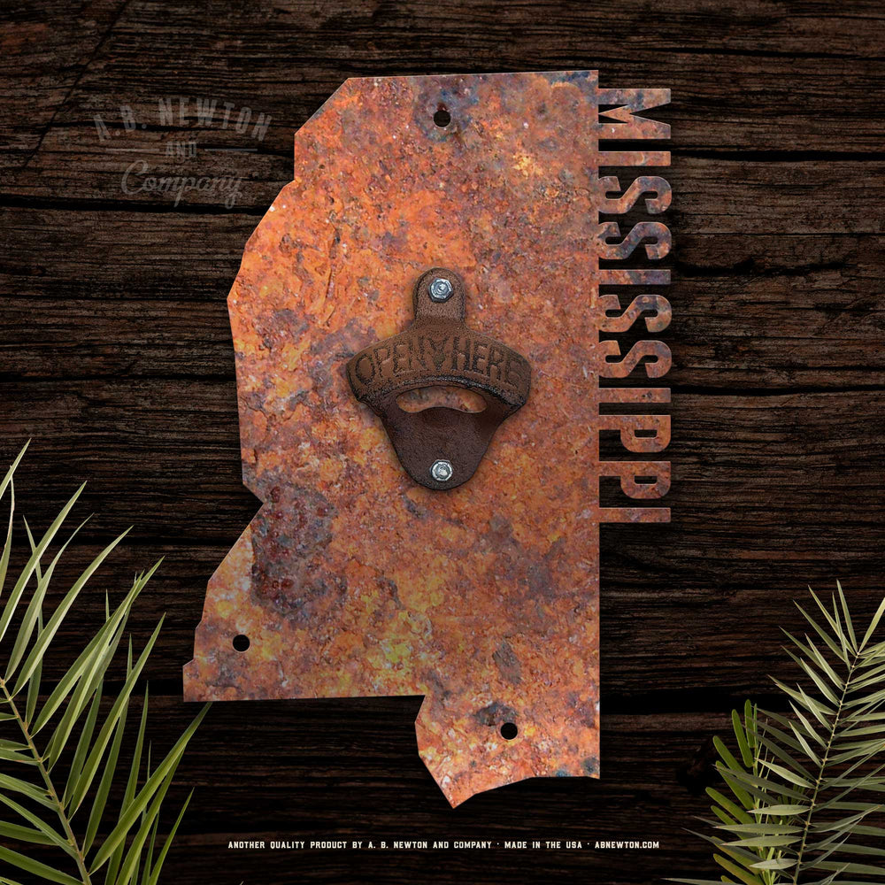 Wall Mounted Rustic State Bottle Opener
