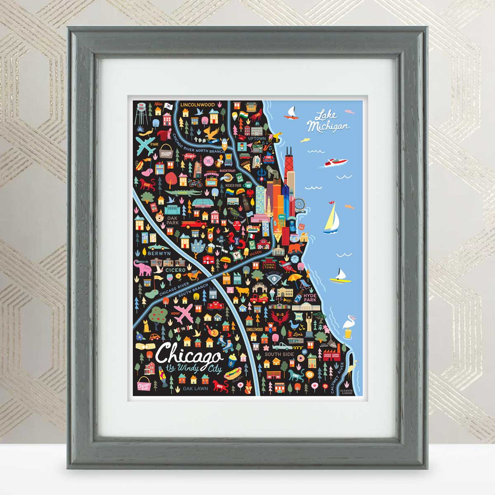 City of Chicago Illinois | Area Map Art Print - A. B. Newton and Company
