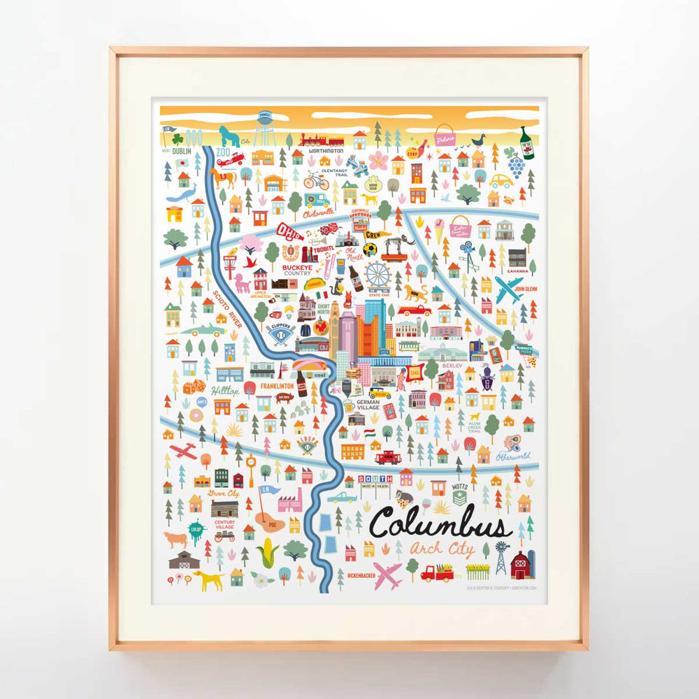 City of Columbus Ohio | Area Map Art Print