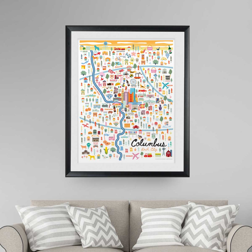 City of Columbus Ohio | Area Map Art Print - A. B. Newton and Company