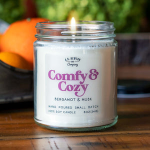 Comfy & Cozy 8oz Soy Candle Hand Poured Small Batch - A. B. Newton and Company