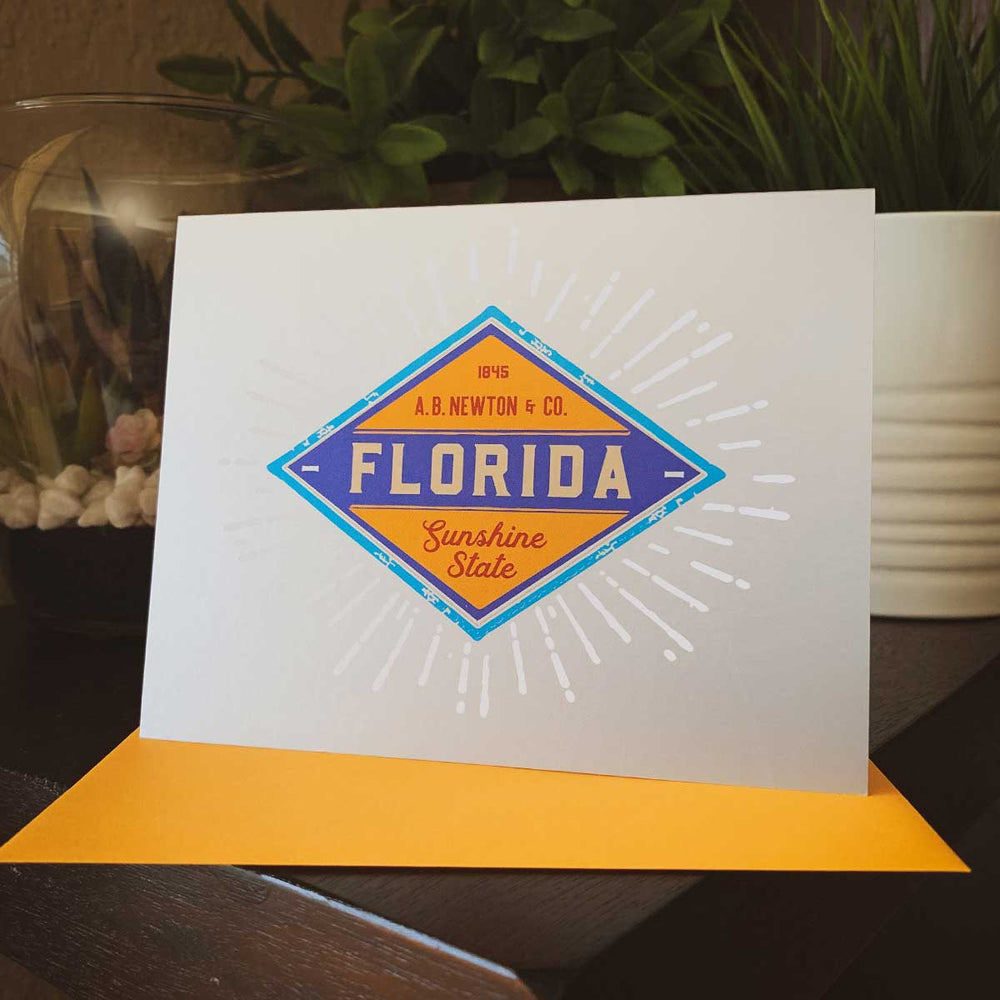 Florida Sunshine State Diamond Greeting Card - A. B. Newton and Company