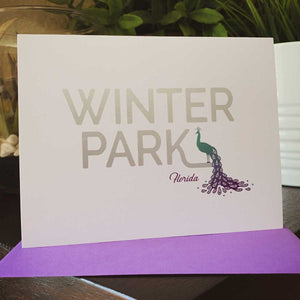 Winter Park Florida Peacock Greeting Card - A. B. Newton and Company