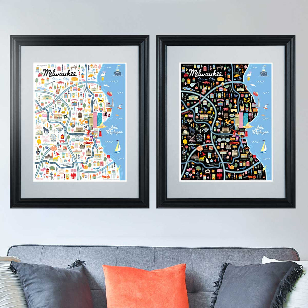 City of Milwaukee Wisconsin | Area Map Art Print - A. B. Newton and Company