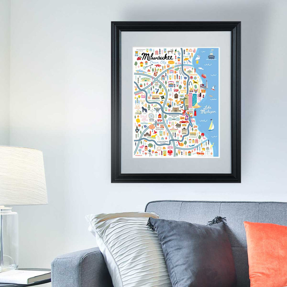 Milwaukee Wisconsin Map Art Print