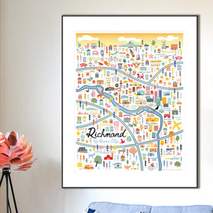 City of Richmond Virginia | Area Map Art Print - A. B. Newton and Company