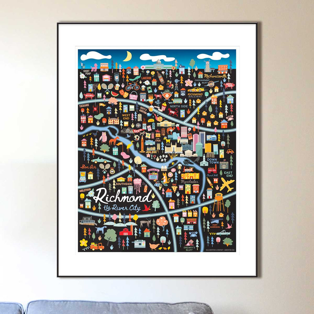 Richmond Virginia Map Art Print - A. B. Newton and Company