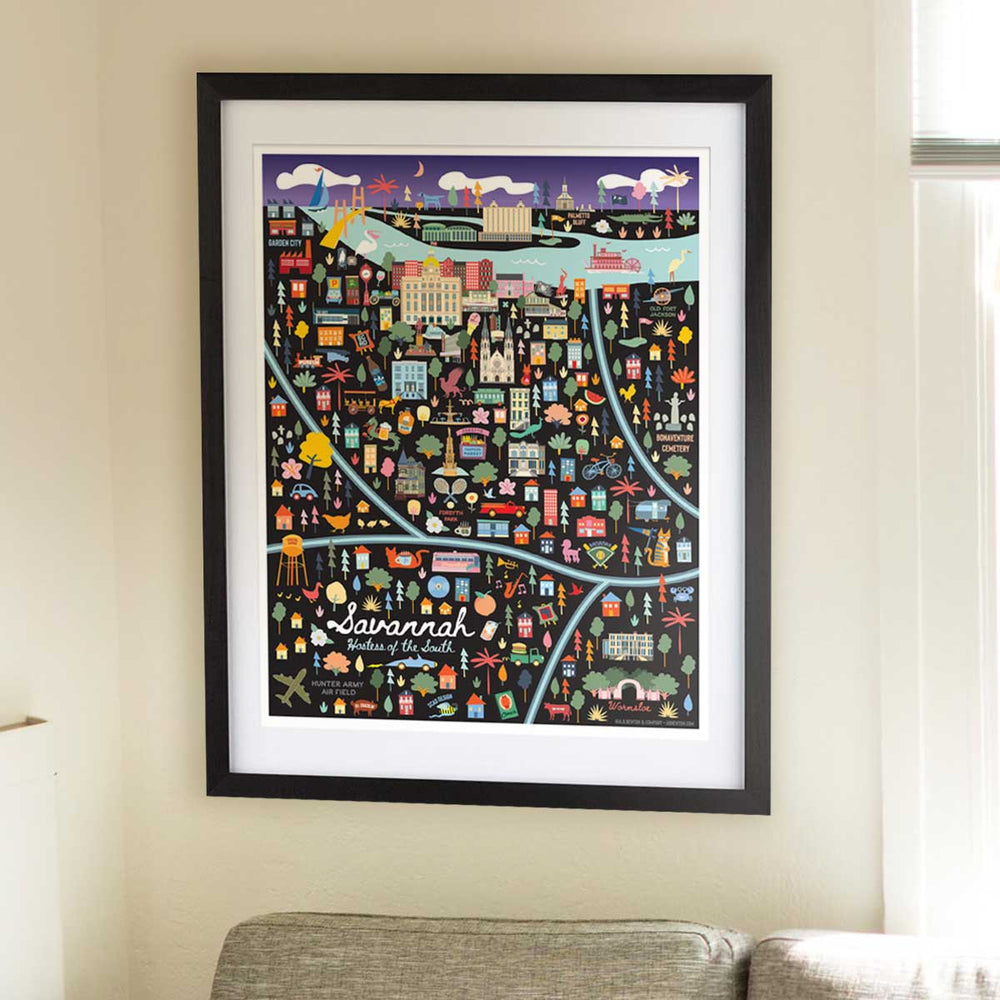 Savannah Georgia Map Art Print
