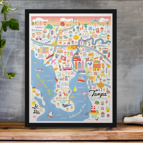 City of Tampa Florida | Area Map Art Print - A. B. Newton and Company
