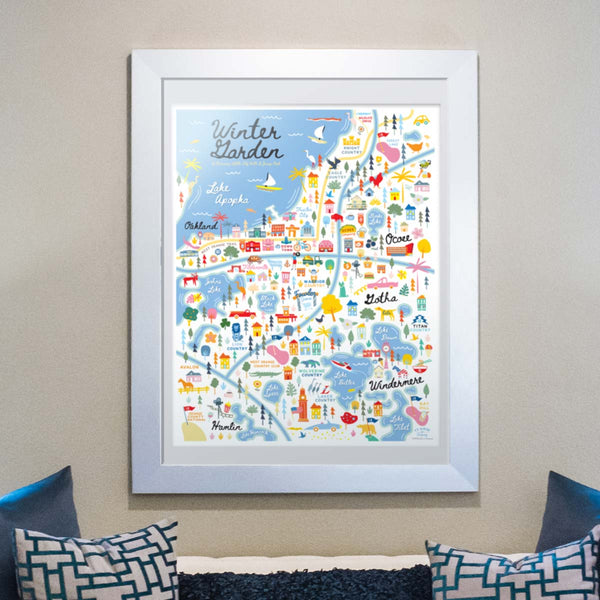 West Orange County Florida | Area Map Art Print - A. B. Newton and Company