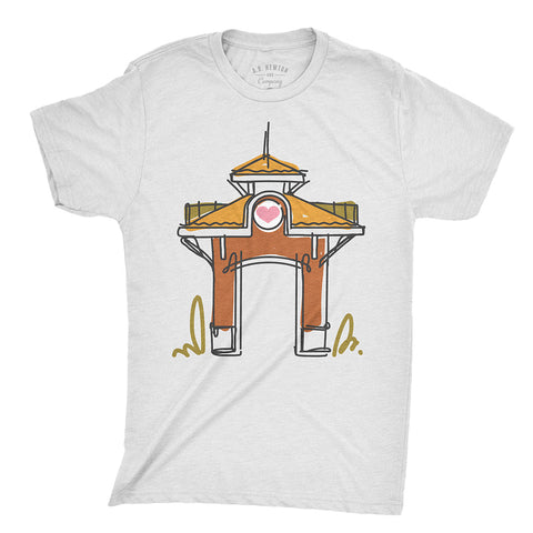 Winter Garden Clock Tower Sketch Unisex T-Shirt - A. B. Newton and Company