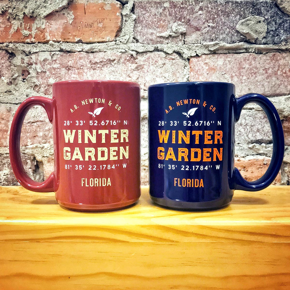 Winter Garden Longitude Latitude Coffee Mug in Florida University Colors - A. B. Newton and Company