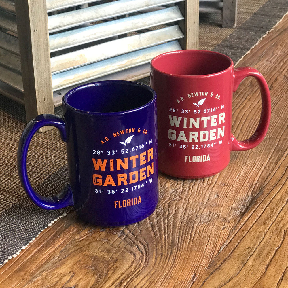 Winter Garden Longitude Latitude Coffee Mug in Florida University Colors