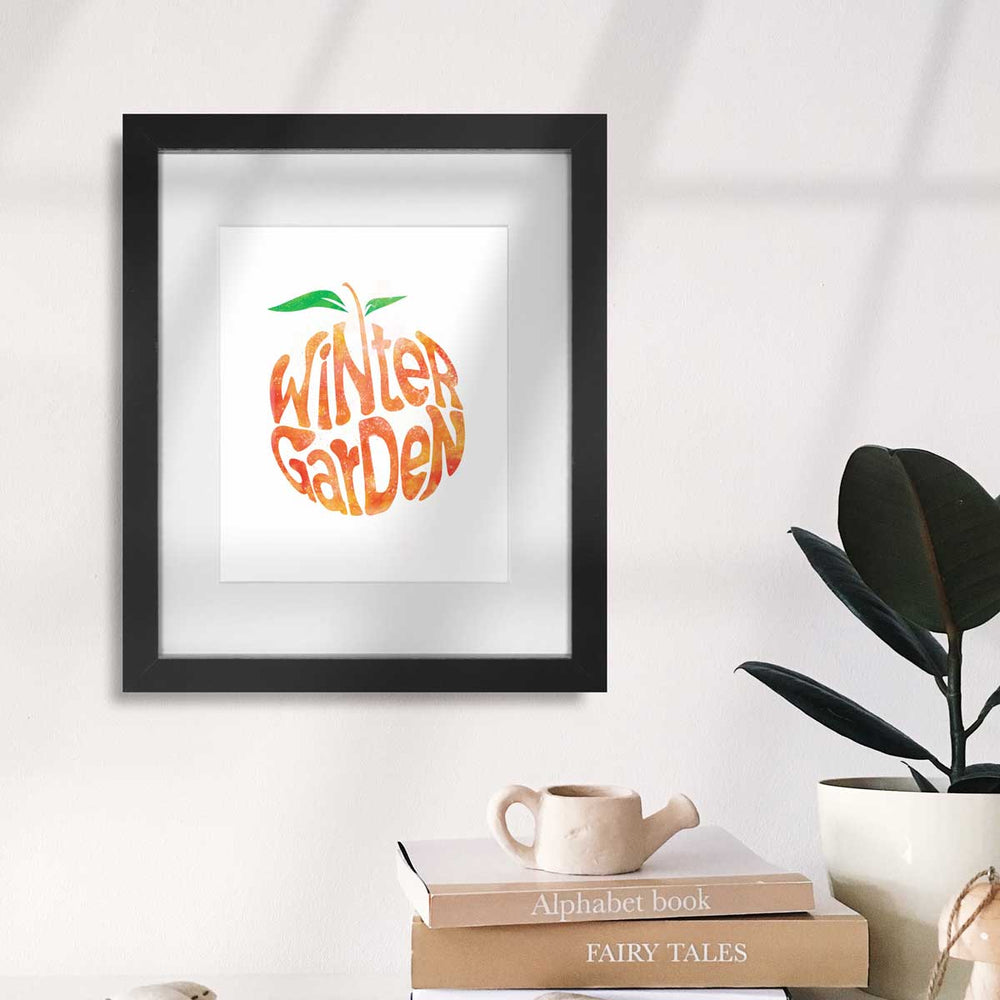 Winter Garden Orange Watercolor | Art Print