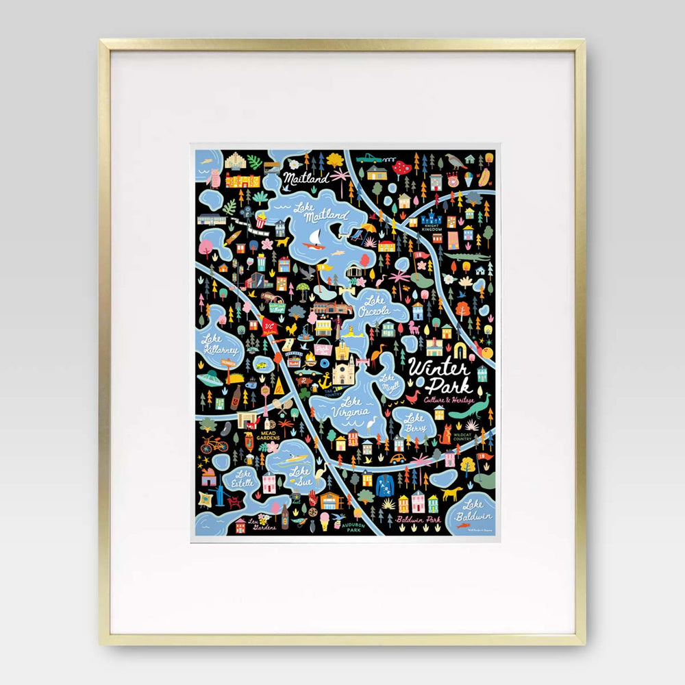 Winter Park Florida Area Map Art Print - A. B. Newton and Company