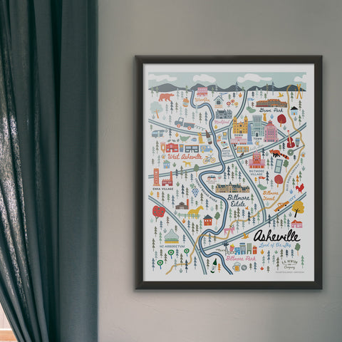 City of Asheville North Carolina | Area Map Art Print - A. B. Newton and Company