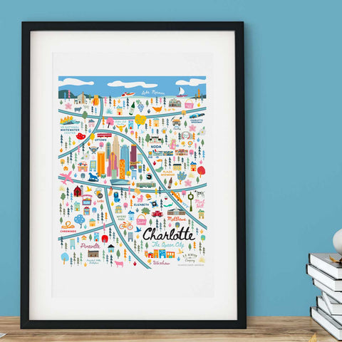 City of Charlotte North Carolina | Area Map Art Print - A. B. Newton and Company