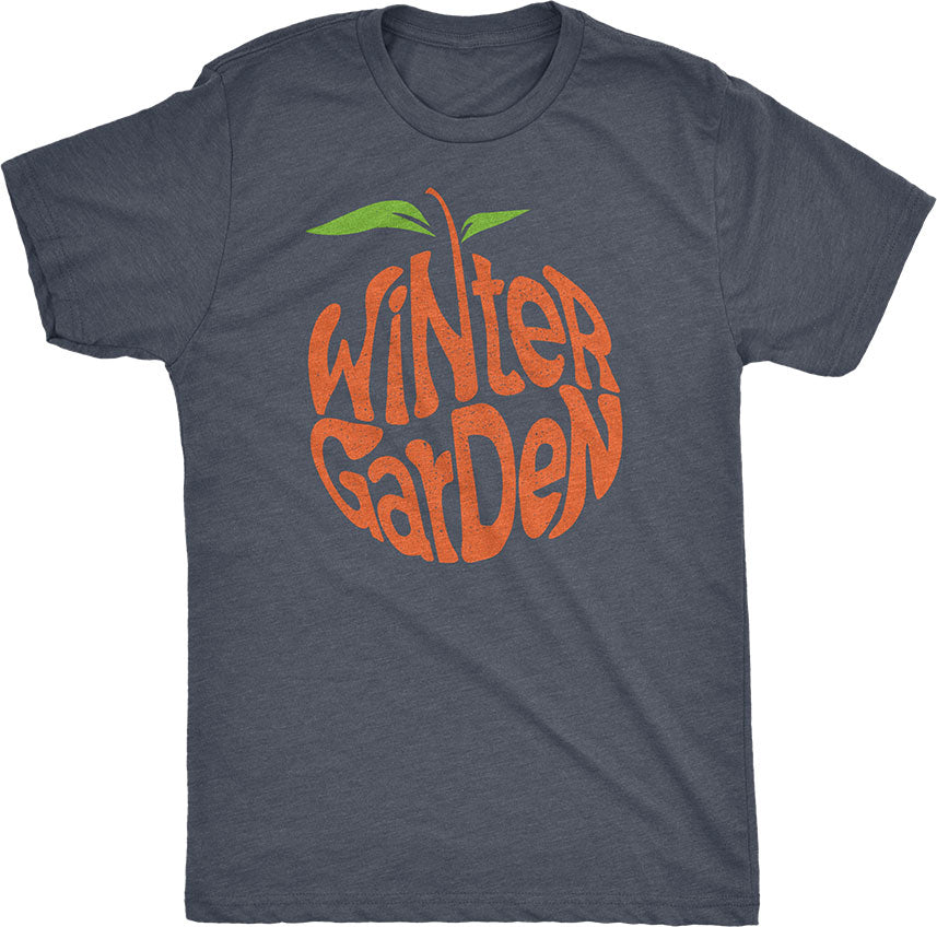 Winter Garden Orange T-Shirt - Unisex - Vintage Navy