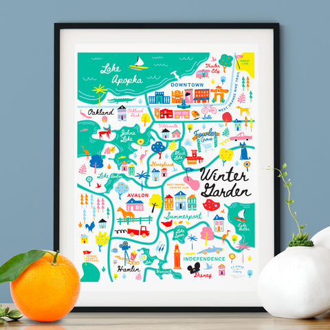 City of Winter Garden Florida | Area Map Art Print - A. B. Newton and Company