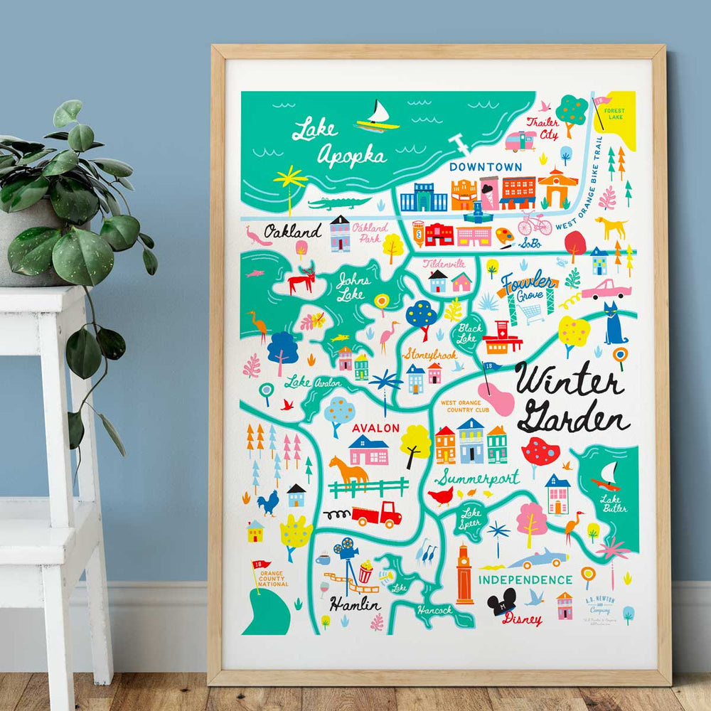 Winter Garden Area Map Art Print - A. B. Newton and Company