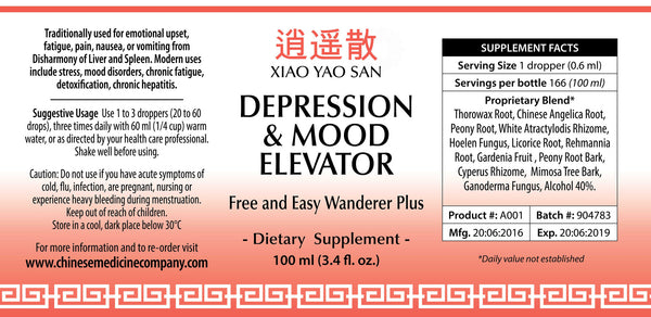 Depression & Mood Elevator Formula 100ml Label information, directions of use