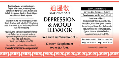 label for Depression & Mood Elevator Formula 100ml
