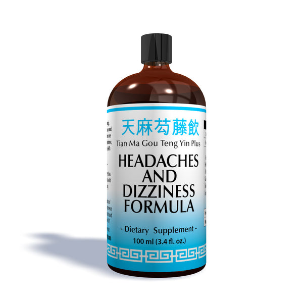 100ML Bottle of Headaches & Dizziness Traditional Chinese Formula Label that is an Organic Herbal Remedies