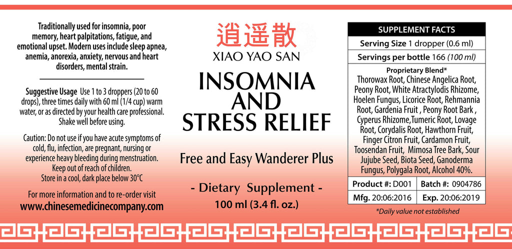 Label information and directions for use of Insomnia & Stress Relief Formula 100ML that is an Organic Herbal Remedy from Chinese Medicine Company