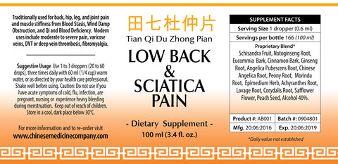 Label of information and directions of use for Low Back & Sciatica Pain Formula 100ML that is an Organic Herbal Remedy
