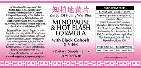 Information and directions of use label for Menopause and Hot Flush organic Formula made by Chinese Medicine Company