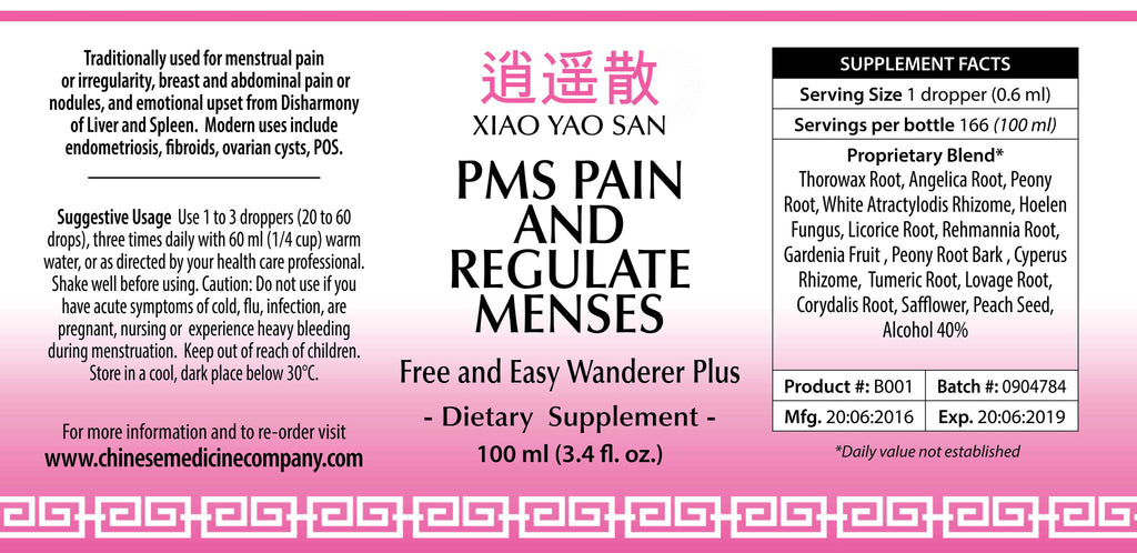 Information and direction of use label for PMS Pain and Regulate Menses Organic Formula made by Chinese Medicine Company