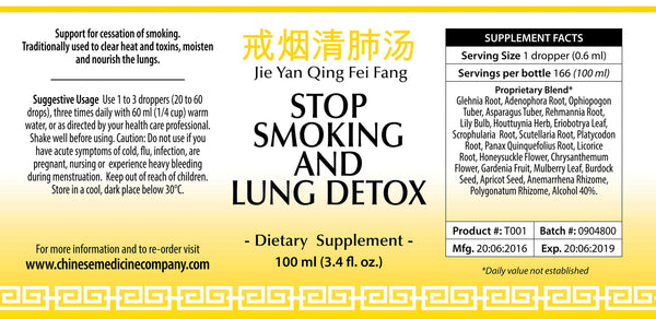 Information and direction of use label for Stop Smoking and Lung Organic Detox Formula made by Chinese Medicine Company