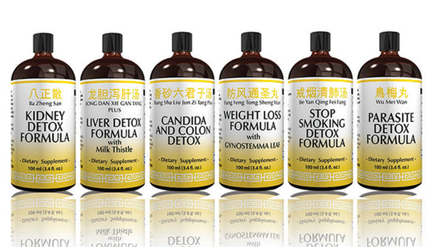 Six bottle of organic detox herb formulas including Kidney, Liver, Candida and Colon, Parasite and Weight Loss 100ml.
