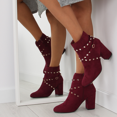 LADIES WINE RED CHELSEA ANKLE BOOTS MID HIGH HEEL STUDS STRAPS BUCKLE SIZE