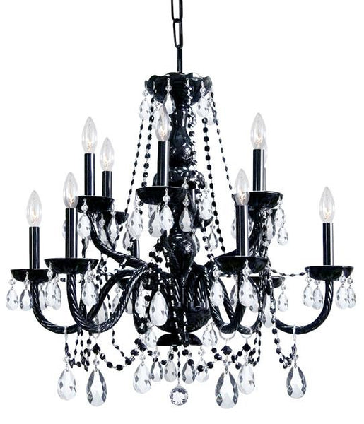 Crystorama Traditional 12 Light Black Crystal Chandelier