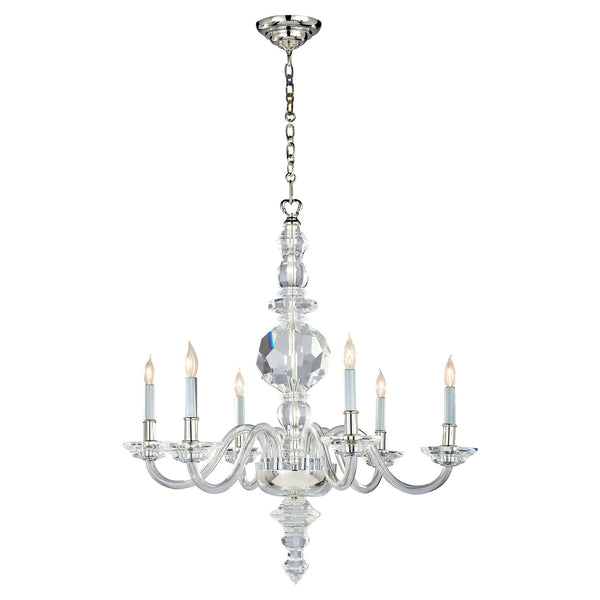 E.F. Chapman George II Large Faceted 6 Light Chandelier