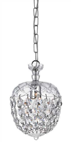 Crystorama 1 Light Crystal Chrome Pendant