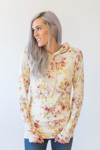 Cream Floral Single Hood Hoodie