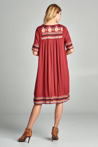 Ellie Embroidered Dress - Brick