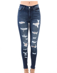 KANCAN Dark Wash Distressed Jeans