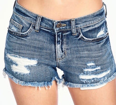 Distressed Boyfriend Denim Shorts