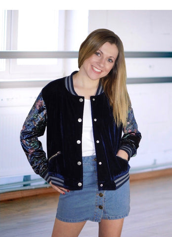 Crushed Velvet bomber jacket in Navy with floral contrast sleeves