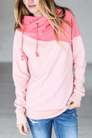 SINGLE HOODED SWEATSHIRT - DIAGONAL PINK