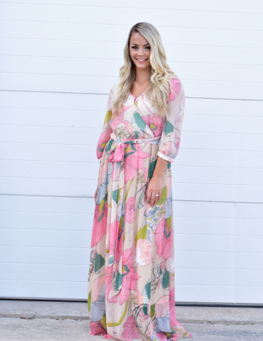Miranda Floral Dress - Blush