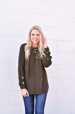 Lace up Sweater - Olive