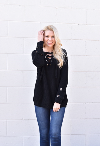 Lace up Sweater - Black