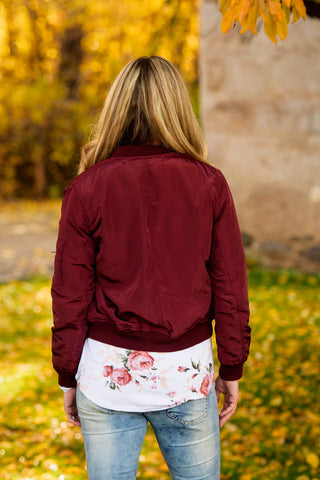 Bomber in Burgundy