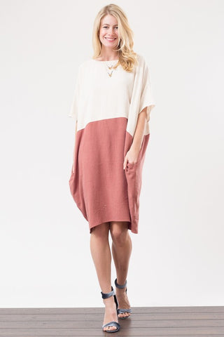 Color Block Linen Dress