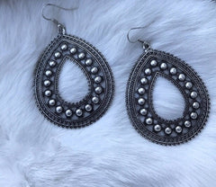 Rosealla Teardrop Burnished Silver Earrings