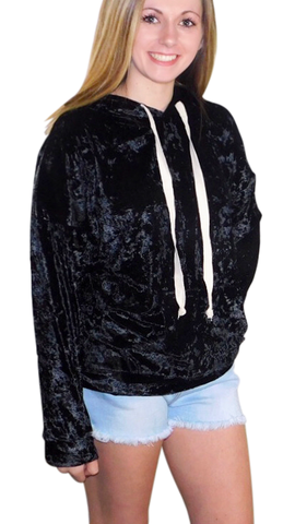 Black Velvet pullover hoodie with draw sting
